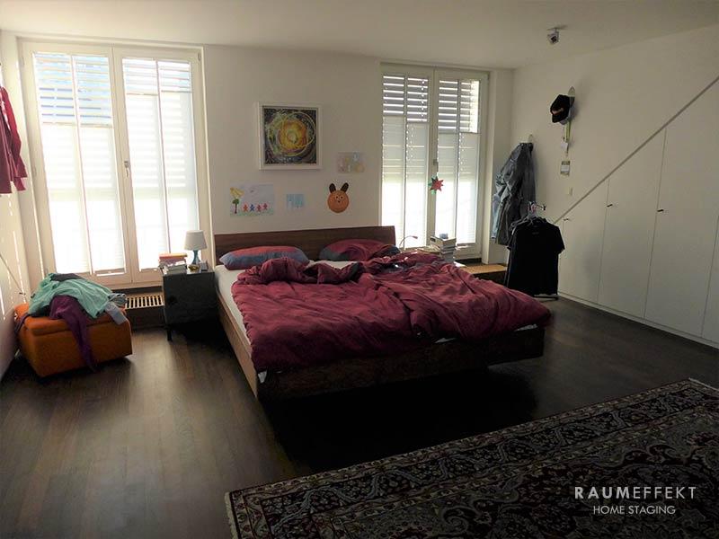 raumeffekt-Home-Staging-bewohnte-Immobilie-Schlafzimmer-vorher